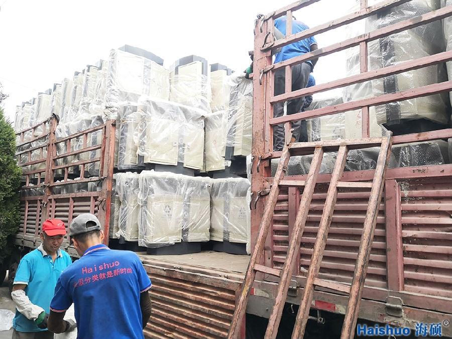 山东淄博户外垃圾桶即将换新颜,海硕环保分类果皮箱整装出发
